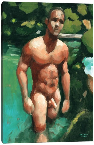 Nude Male In Tropical Pool Canvas Art Print