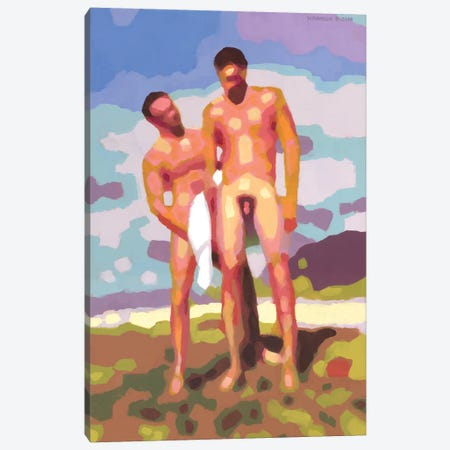 Sam And Kawai At The Beach Canvas Print #DSS56} by Douglas Simonson Art Print
