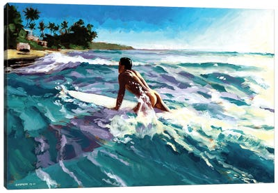 Surfer Coming In Canvas Art Print
