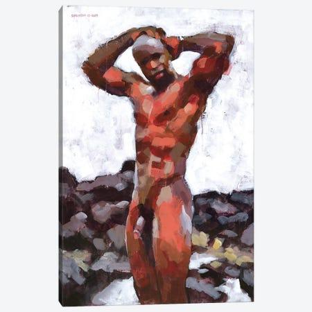 Black Male Nude In Lava Rocks Canvas Print #DSS8} by Douglas Simonson Canvas Print
