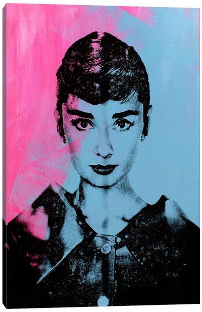 Audrey Hepburn - Blue Canvas Art Print