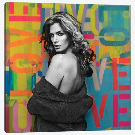 Cindy Crawford Love Graffiti Canvas Print #DSU112} by Dane Shue Canvas Wall Art