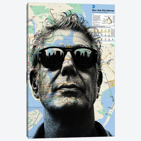 Anthony Bourdain Map Art Canvas Print #DSU113} by Dane Shue Canvas Artwork