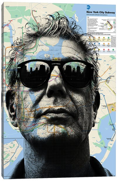 Anthony Bourdain Map Art Canvas Art Print