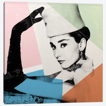 Audrey Hepburn - Geometric Canvas Print #DSU11} by Dane Shue Canvas Art