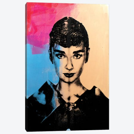 Audrey Hepburn - Pink Canvas Print #DSU13} by Dane Shue Canvas Art