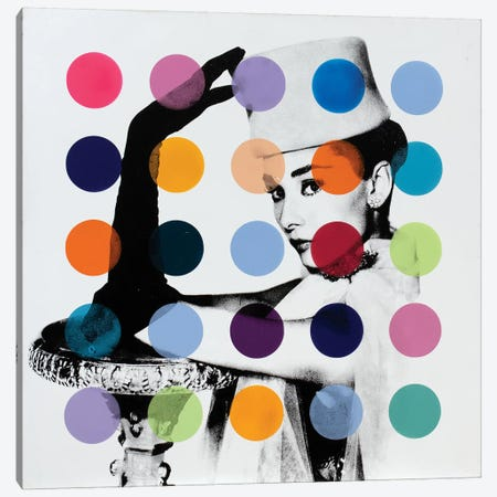 Audrey Hepburn - White Dots Canvas Print #DSU14} by Dane Shue Art Print