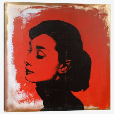 Audrey Hepburn Red Canvas Print #DSU19} by Dane Shue Canvas Wall Art