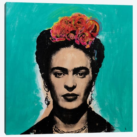 Frida Kahlo - blue Canvas Print #DSU50} by Dane Shue Canvas Wall Art