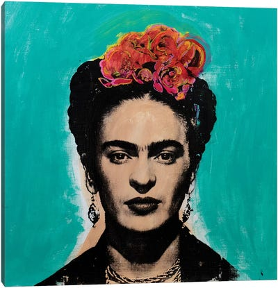 Frida Kahlo - blue Canvas Art Print
