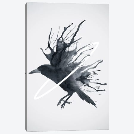 Crow Canvas Print #DTA55} by Dániel Taylor Canvas Wall Art