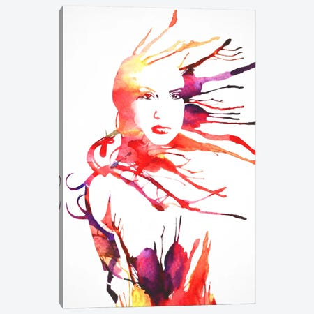 Watercolor Girl Canvas Print #DTA80} by Dániel Taylor Canvas Artwork