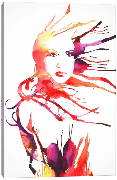 Watercolor Girl Canvas Art Print