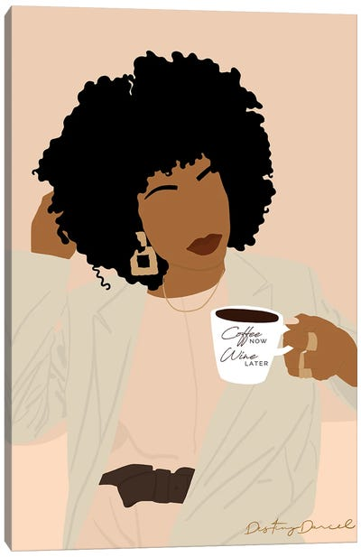 Coffee Now Wine Later Canvas Art Print