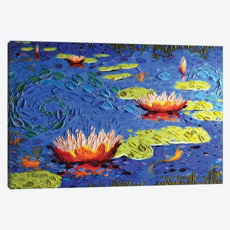 Koi Pond in Blue  Canvas Print #DTO14} by Dena Tollefson Canvas Wall Art