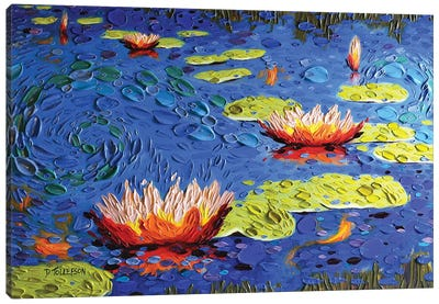 Koi Pond in Blue  Canvas Art Print