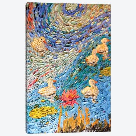 Swan Family II  3-Piece Canvas #DTO39} by Dena Tollefson Art Print