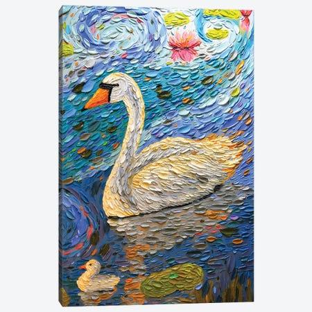 Swan Family III Canvas Print #DTO40} by Dena Tollefson Canvas Art
