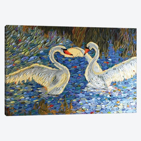 Swan Love I Canvas Print #DTO41} by Dena Tollefson Canvas Artwork