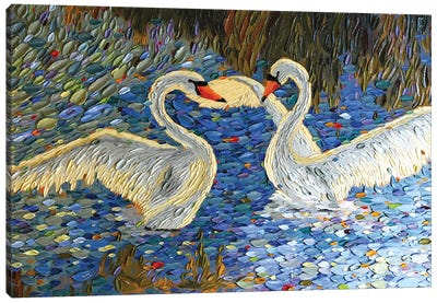 Swan Love I Canvas Art Print
