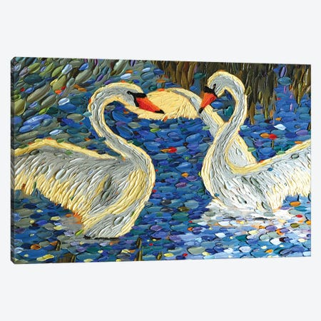 Swan Love II Canvas Print #DTO42} by Dena Tollefson Canvas Wall Art
