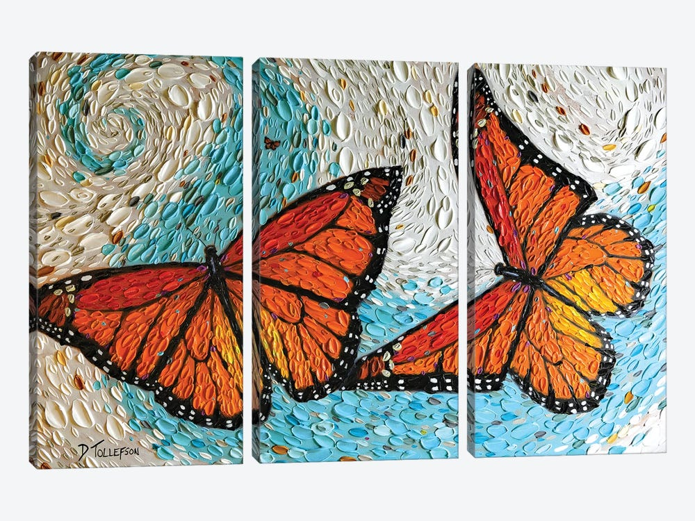 The Joyful Flight  by Dena Tollefson 3-piece Canvas Print