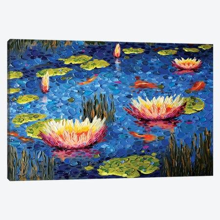 Koi Pond Joy Canvas Print #DTO49} by Dena Tollefson Canvas Wall Art