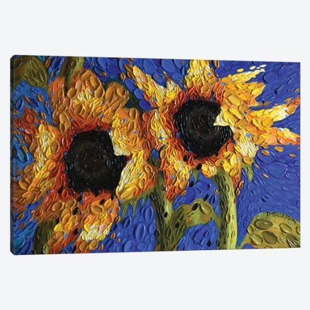 Cobalt Skies Sunflowers  Canvas Print #DTO5} by Dena Tollefson Canvas Art
