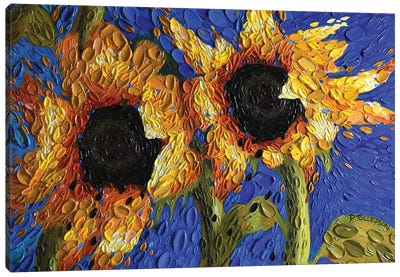 Cobalt Skies Sunflowers  Canvas Art Print