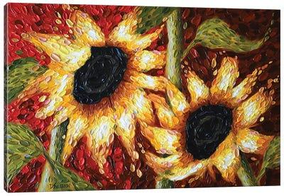 Crimson Sunflowers Canvas Art Print