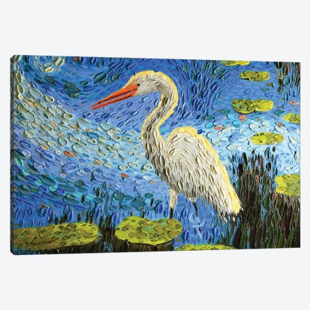 Egret's Pond  Canvas Print #DTO7} by Dena Tollefson Canvas Art