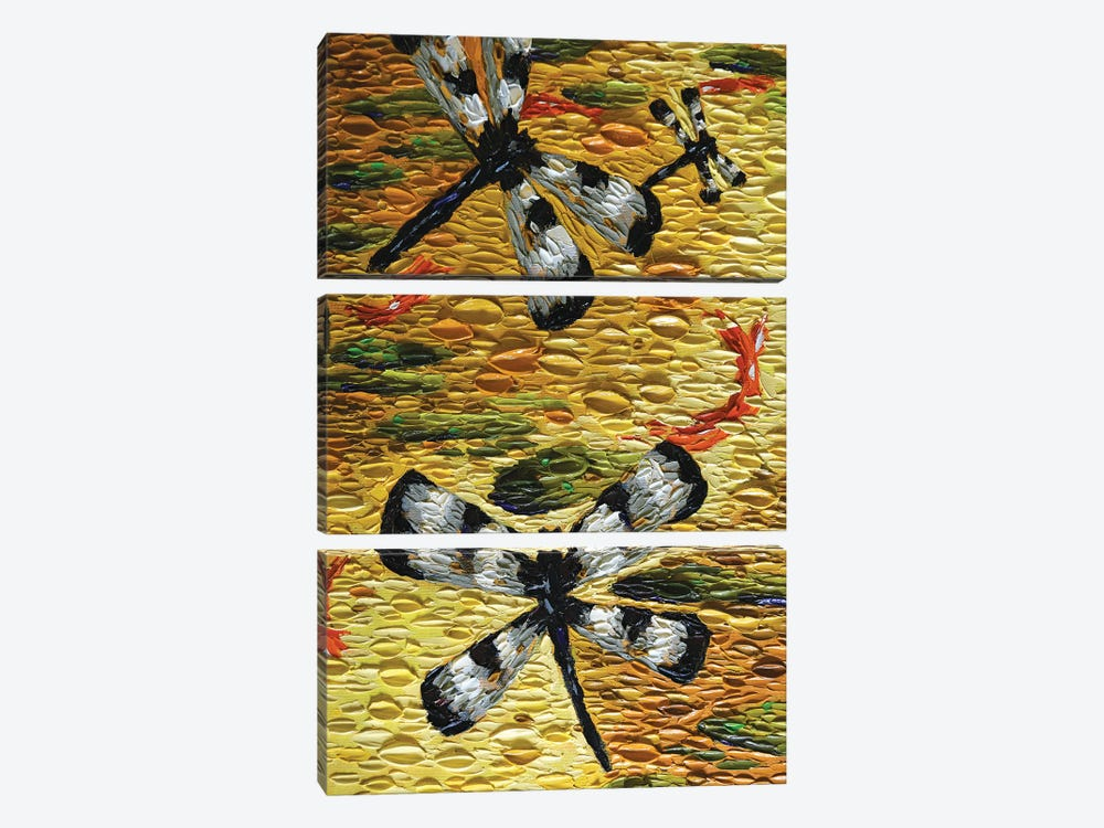 Golden Pond Dragonflies  by Dena Tollefson 3-piece Canvas Art Print
