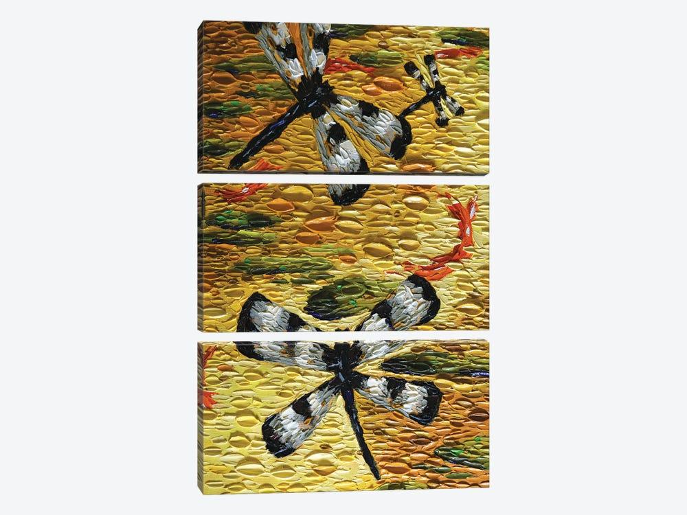 Golden Pond Dragonflies  by Dena Tollefson 3-piece Canvas Art Print