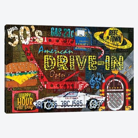 American Driveins License Plate Art Collage Canvas Print #DTU158} by Design Turnpike Canvas Artwork