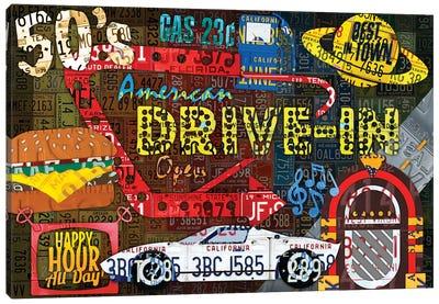 American Driveins License Plate Art Collage Canvas Art Print