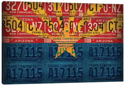 Arizona State Flag License Plates Canvas Art Print