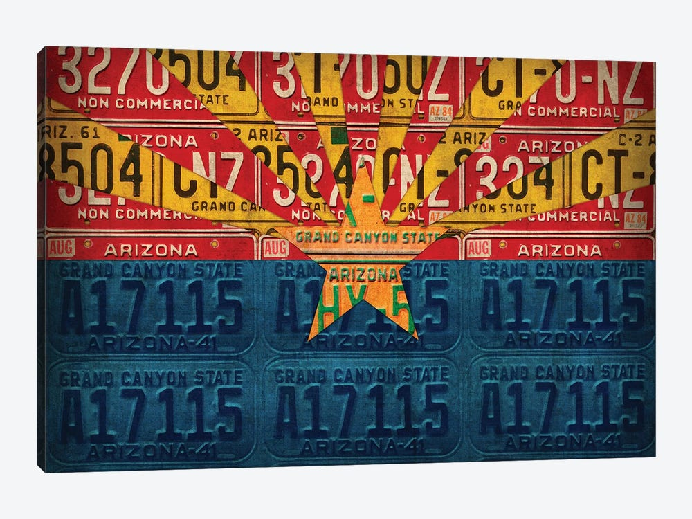 Arizona State Flag License Plates by Design Turnpike 1-piece Canvas Art