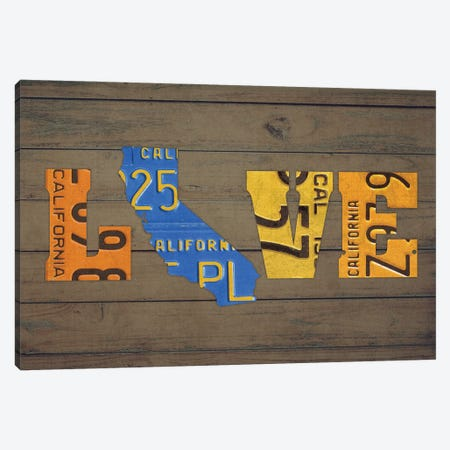 CA State Love Canvas Print #DTU163} by Design Turnpike Art Print