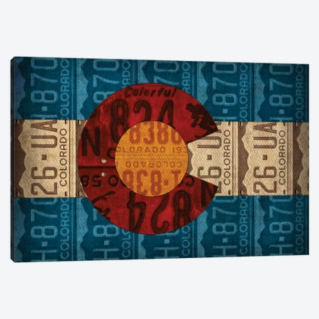 Colorado State Flag License Plates Canvas Print #DTU165} by Design Turnpike Canvas Art