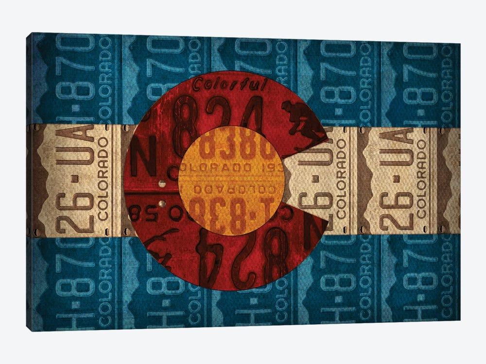 Colorado State Flag License Plates by Design Turnpike 1-piece Canvas Print