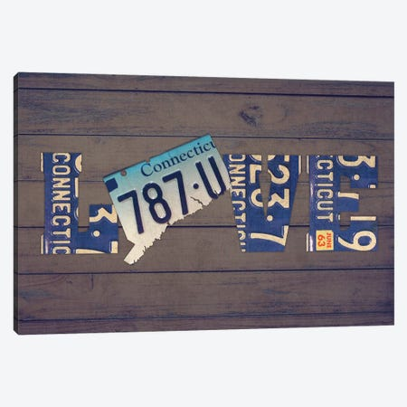 CT State Love Canvas Print #DTU167} by Design Turnpike Canvas Art