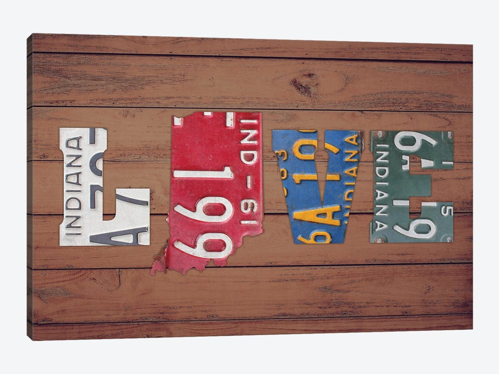 IN State Love by Design Turnpike 1-piece Canvas Art
