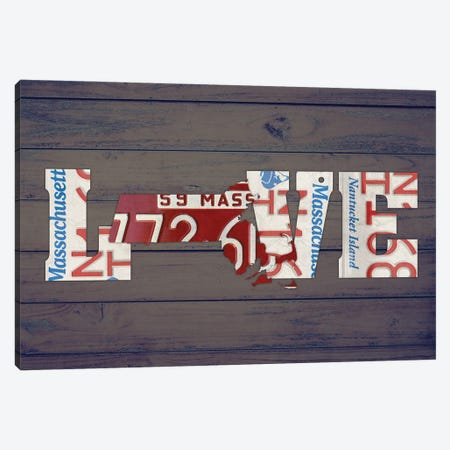 MA State Love Canvas Print #DTU187} by Design Turnpike Canvas Wall Art