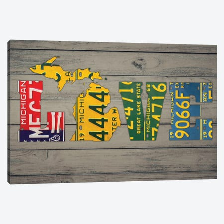 MICH State Love Canvas Print #DTU191} by Design Turnpike Canvas Artwork