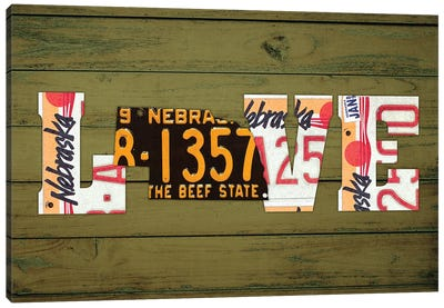 NE State Love Canvas Art Print