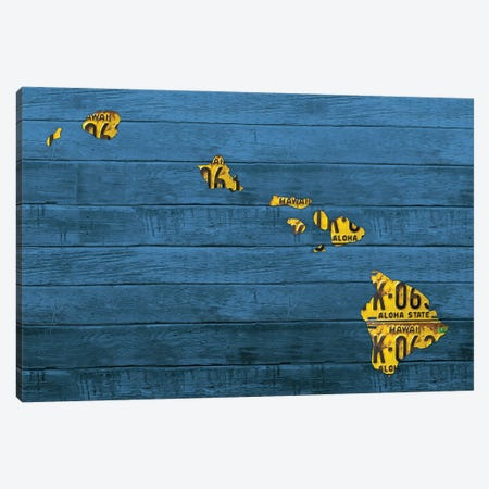 New Hawaii Map Canvas Print #DTU202} by Design Turnpike Canvas Artwork