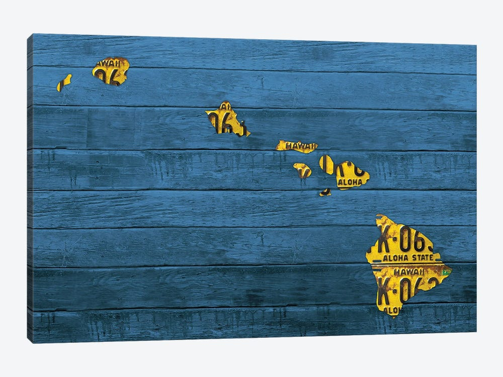 New Hawaii Map by Design Turnpike 1-piece Canvas Artwork