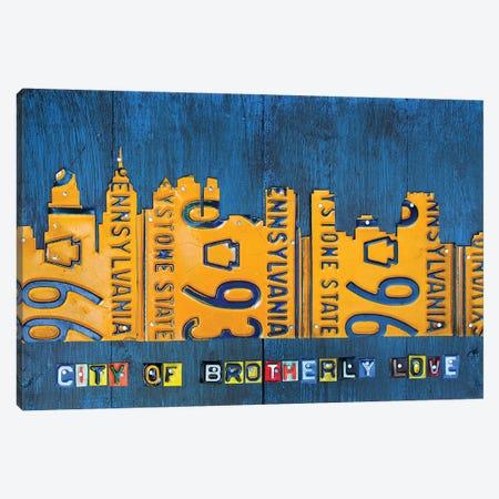 Philly Skyline License Plate Art Canvas Print #DTU216} by Design Turnpike Canvas Artwork