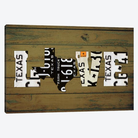 Texas State Love Canvas Print #DTU226} by Design Turnpike Canvas Print