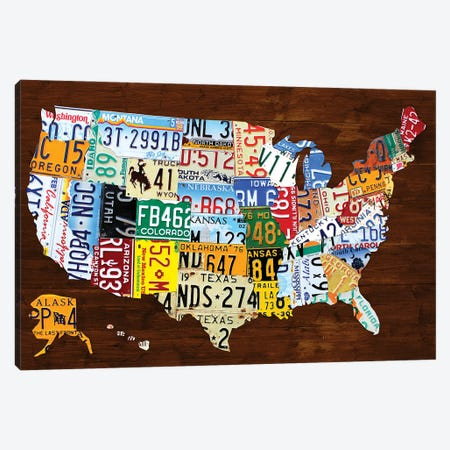 United States of America License Plate Map 2018 Canvas Print #DTU228} by Design Turnpike Canvas Wall Art